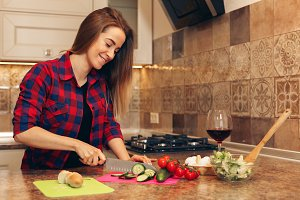 Healthy eating lifestyle concept with woman cooking