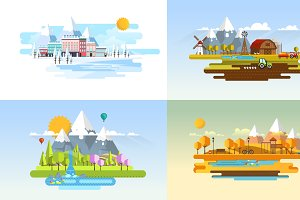 4 Season Flat Style Landscape