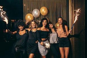 Girls celebrating new years eve