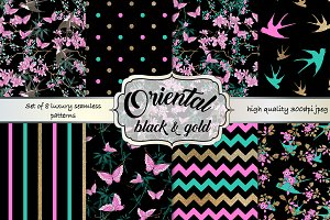 Oriental black and gold pattern set