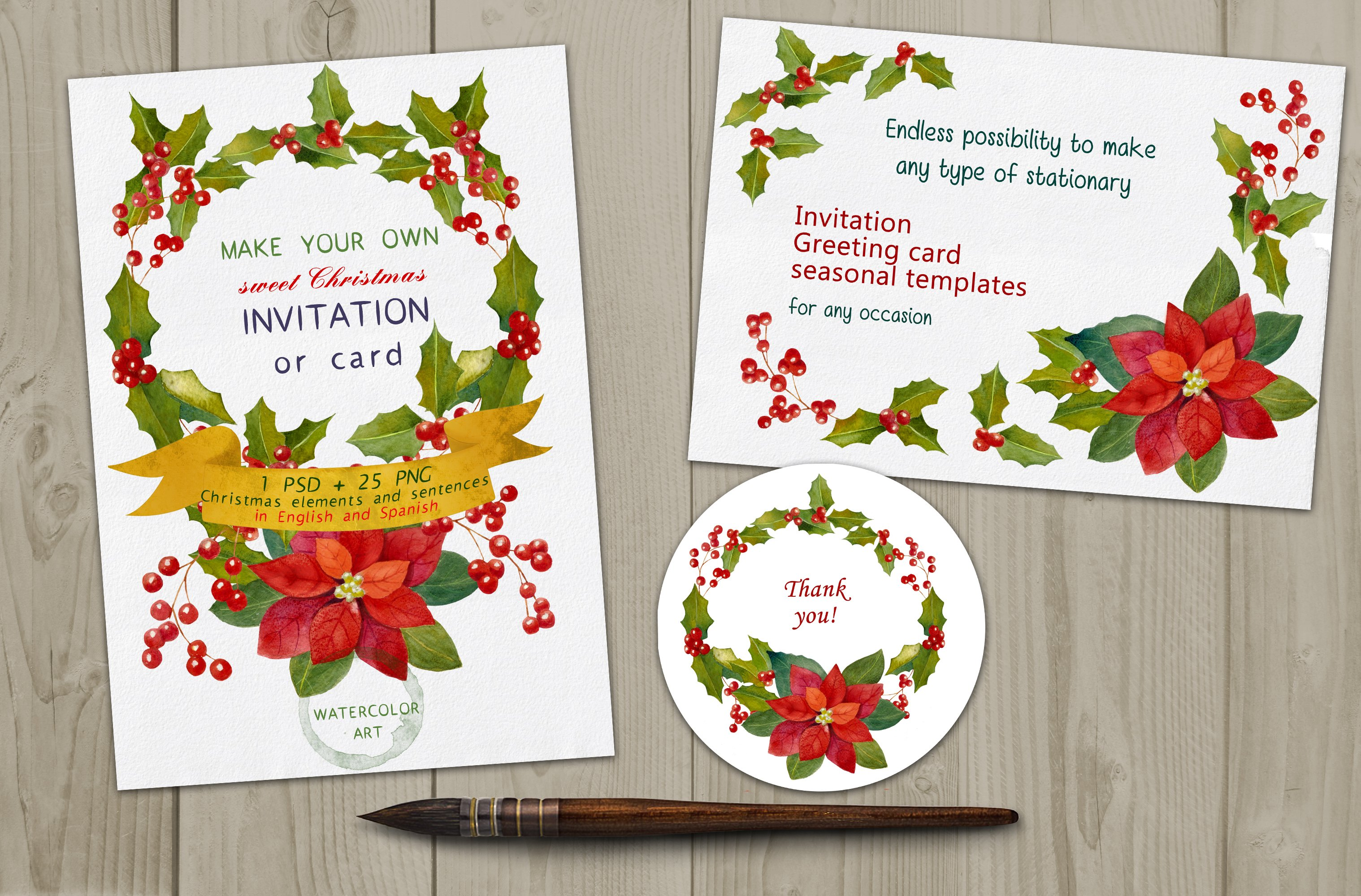 Christmas Watercolor Graphics Diyset Card Templates Creative Market