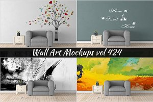 Wall Mockup - Sticker Mockup Vol 424