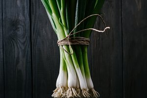 Green onion on a black background