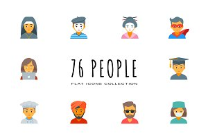 76 Flat People Icons