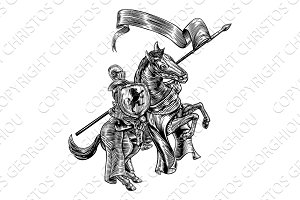 Medieval Knight on Horse Vintage Woodcut Style