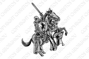 Knight on Horse Woodblock Engraving Style
