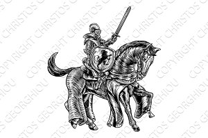 Medieval Knight on Horse Vintage Woodblock Engraving