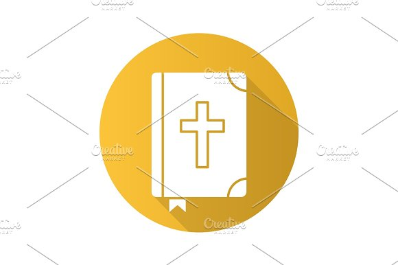 Holy Bible flat design long shadow icon