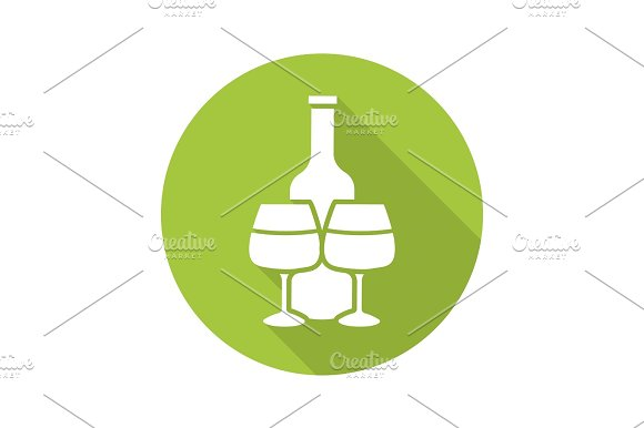 Wine bottle and glasses. Flat design long shadow icon