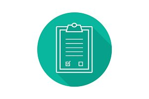 Tests clipboard checklist. Flat linear long shadow icon