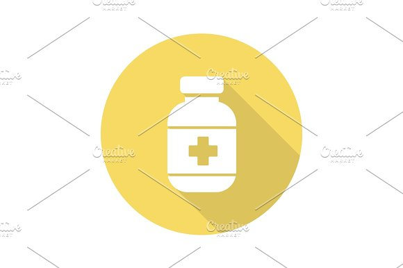 Pills bottle flat design long shadow icon