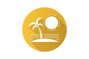 Tropical island flat design long shadow icon