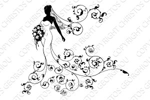 Bride Silhouette Bouquet Wedding Concept