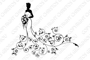 Pattern Wedding Bride Silhouette