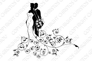 Bride and Groom Wedding Bridal Dress Silhouette