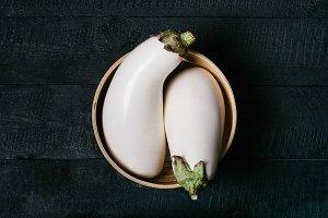 Two white eggplant