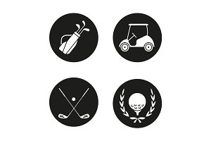 Golf championship icons set