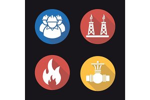 Gas industry flat design long shadow icons set