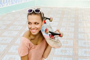 woman with a skateboard