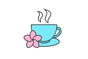Herbal teacup color icon