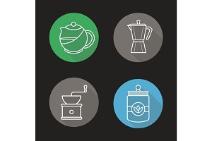 Tea and coffee flat linear long shadow icons set