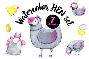Watercolor Hen set