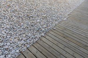 Wood and stones.