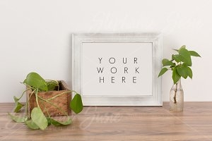 White Wood Frame with Greenery Mock