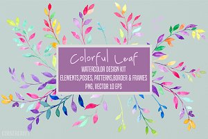 Colorful Leaf Design Kit Watercolor