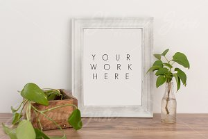 White Wood Frame Greenery Mock Up