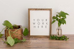 Barnwood Frame Greenery Mock Up