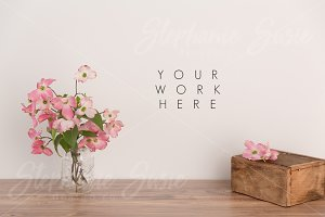 Pink Dogwood Rustic Mock Up