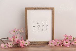 Rustic Frame Pink Dogwood Mock Up
