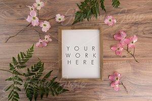 Barnwood Frame Pink Dogwood Layflat