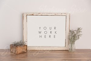 Rustic Frame Floral Mock Up