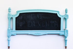 Vintage Headboard in Turquoise