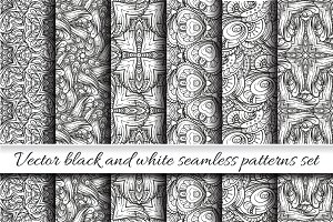 Vector black and white patterns set