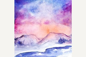 Watercolor nothern lights landscape