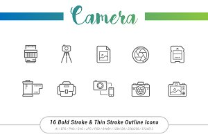 16 Camera Outline Stroke Icons