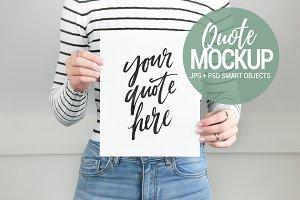 Woman holding print mockup