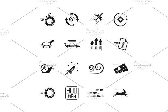Velocity Speed And Performance Vector Icons Isolated On White Background