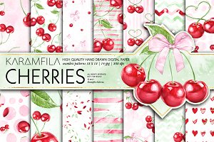 Cherries Seamless Patterns