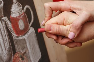 Still life pastel art school