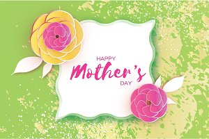 Happy Mother's Day Greeting card. Pink Paper cut Flower. Square wave Frame. Space for text.