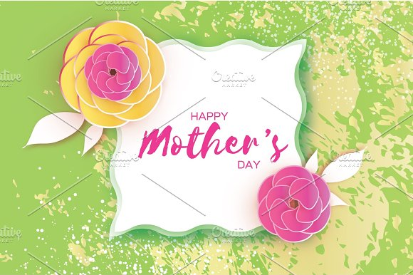 Happy Mother's Day Greeting Card Pink Paper Cut Flower Square Wave Frame Space For Text
