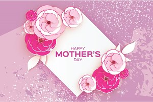 Happy Mother's Day Greeting card. Pink Paper cut Flower. Rhombus Frame. Space for text.