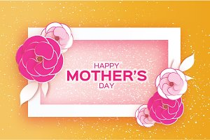 Happy Mother's Day Greeting card. Pink Pastel Paper cut Flower. Rectangle Frame. Space for text.