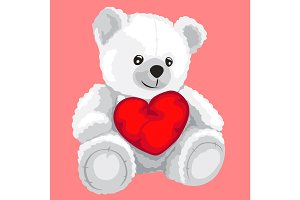 White toy bear with red heart
