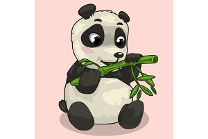 Baby Panda with sprig of bamboo
