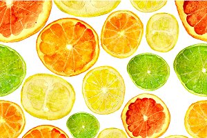 Citrus fruits watercolor pattern